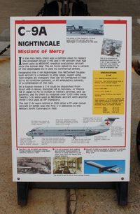 67-22584 @ DOV - Information Plaque for the 1967 McDonnell Douglas C-9A Nightingale at the Air Mobility Command Museum, Dover AFB, DE - by scotch-canadian