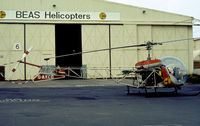 G-AXCD @ CVT - Bell 47G-2  of British Executive Air Services (BEAS) Helicopters as seen at Coventry in the Summer of 1977. - by Peter Nicholson