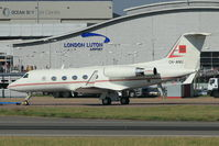CN-ANU @ EGGW - Moroccan Govt Gulfstream III being towed back to hangar after completing engine runs - by Terry Fletcher