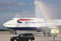G-BNLU @ MCO - British Airways Dreamflight water salute