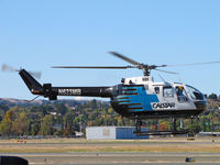 N623MB @ KCCR - CALSTAR 1986 MBB BO-105S transitioning from hover at Buchanan Field - by Steve Nation