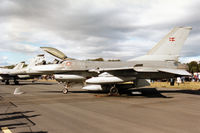 E-199 @ EGQL - F-16AM Falcon of Eskradille 727 of the Royal Danish Air Force at Skrydstrup on display at the 1994 RAF Leuchars Airshow. - by Peter Nicholson