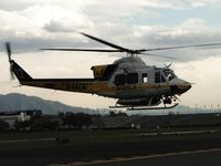 N120LA @ POC - Left turn, air taxi into helipad area and then turn around to face north - by Helicopterfriend