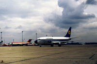 D-ABDE @ LHR - Lufthansa Boeing 737-230C taxying to the terminal at Heathrow in March 1974. - by Peter Nicholson