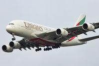 A6-EDK @ EGCC - Emirates A380 on finals to Manchester