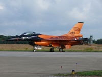 J-015 @ EHVK - Demo F-16 J-015 of the Royal Netherlands Air Force with the tower of it's homebase in the back