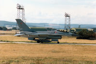 E-192 @ EGQS - F-16A Falcon of Eskradille 730 Royal Danish Air Force based at Skrydstrup taxying to join Runway 23 at RAF Lossiemouth in September 1994. - by Peter Nicholson