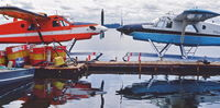 C-FOEE - C-FOEE at the Hatchet Lake, SK, dock with sister DHC-2 MKlll, C-FOEF (no longer existing under this ident)........aprox late 80's....... - by Darrel Giesbrecht (Luke)