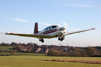 D-EKNA @ X5FB - Mooney M20F Executive. Wheels up on take off from Fishburn Airfield, January 2012 - by Malcolm Clarke