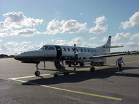 G-BUKA @ EFTU - During the Melanie C World Tour 2001 this aircraft was chartered to take us, the Band & Crew, from Stansted, UK to Turku, Finland for the Rock In The Quarry Festival. Photo: The Co-Pilot doing his checks at Turku Airport, Finland. - by RoadieJohn