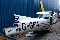 G-GFIA @ EGNH - wfu after a heavy landing at Manchester Barton - by Chris Hall
