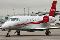 N575NR @ EGBB - Unable to get into Wellesbourne because of snow, this 2008 Cessna 560XL, c/n: 560-5759 diverted to Birmingham and was photographed on the Elmdon ramp