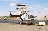 N8118Y @ CCR - Calstar medivac helicopter and Control Tower CCR - by Bill Larkins