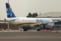 EI-ELN @ EGMC - Aeronova's 2003 Airbus A320-232, c/n: 1993 at the new terminal at Southend
