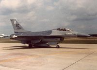 79-0304 @ MMT - One of the first F-16's assigned to the ANG. SCANG's 169th Tac Ftr Gp/157th Tac Ftr Sqdn. Crew Chief MSgt Fred Deshong. - by Ironramper