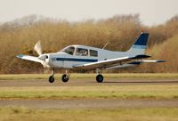 G-EKIR @ EGFH - Departing Piper Cadet of Aeros Leasing. - by Roger Winser