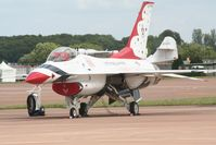 87-0331 @ FFD - Thunderbirds on the flight line at Royal International Air Tattoo 2007 - by Steve Staunton