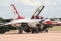 87-0323 @ FFD - Thunderbirds on the flight line at Royal International Air Tattoo 2007 - by Steve Staunton