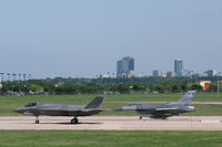 168308 @ NFW - USMC F-35B at NASJRB Fort Worth - Departing for test flight with Lockheed company F-16 chase. - by Zane Adams