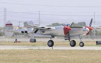 N7723C @ KCNO - P-38 Landing at Chino