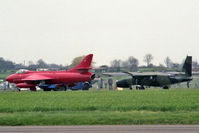 G-HUNT @ EGTC - Hawker Hunter F51 with G-DLRA Britten-Norman BN-2 Astor at Cranfield in 1985. - by Malcolm Clarke