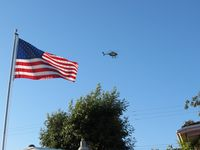 N108PP @ POC - Passing north of the house, past the flag - by Helicopterfriend