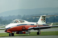 114151 @ RDG - CT-114 Tutor of the Canadian Armed Forces Snowbirds aerobatic display team on the flight-line at the 1976 Reading Airshow. - by Peter Nicholson