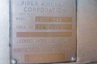 N8703N @ COE - Dataplate on all metal Piper  - 1969 Piper PA-28-140, c/n: 28-25523