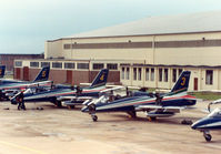 MM54475 @ EGVA - MB-339B, callsign India 4477, number 3 of the Italian Air Force's Frecce Tricolori aerobatic team with others on the flight-line at the 1987 Intnl Air Tattoo at RAF Fairford. - by Peter Nicholson