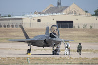 168311 @ NFW - Lockheed Martin F-35B after landing from a test flight...seemed to have some sort of problem. They shut down and towed back to Lockheed. - by Zane Adams
