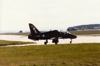 XX236 @ EGQS - Hawk T.1 of 19[Reserve] Squadron crossing the active runway at RAF Lossiemouth in the Summer of 1995. - by Peter Nicholson