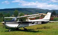 LN-ASQ @ ENHS - R/Cessna F.172M Skyhawk [1448] Hokksund~LN 03/06/2000. Destroyed when a hangar collapsed at Hokksund on 29-12-02. - by Ray Barber