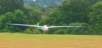 BGA260 - The late Rodi Morgan's Rhonsperber landing at Southdown Gliding Club. Sussex - by David Nicholls