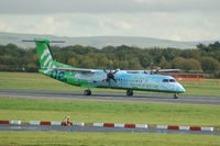 G-JEDP @ EGCC - Flybe De Havilland Canada DHC-8-402Q G-JEDP taxiing at Manchester Airport. - by David Burrell