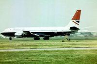 G-ARRA @ EGLL - Boeing 707-436 [18411] (British Airways) Heathrow~G 01/07/1975. Taken from a slide.