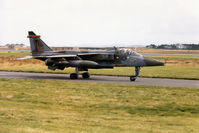 XX965 @ EGQS - Jaguar GR.1A of 16 [Reserve] Squadron taxying to Runway 05 at RAF Lossiemouth in September 1993. - by Peter Nicholson