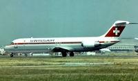 HB-IDW @ EGLL - McDonnell Douglas DC-9-41 [47115] (Swissair) Heathrow~G 1975. Image taken from a slide.
