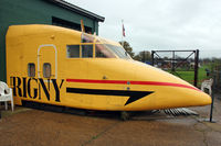 G-SSWP @ EGMH - Front fuselage of 1979 Short 330-200, c/n: SH.3030 painted in Aurigny colours at Manston Museum