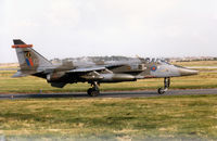 XX965 @ EGQS - Jaguar GR.1A of 16[Reserve] Squadron taxying to Runway 05 at RAF Lossiemouth in September 1993. - by Peter Nicholson