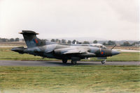 XW530 @ EGQS - Buccaneer S.2B of 12 Squadron taxying to Runway 05 at RAF Lossiemouth in September 1993. - by Peter Nicholson