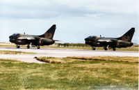 5527 @ EGQS - Portuguese Air Force A-7P Corsair II of 304 Esquadron preparing for take-off with A-7P 5507 on Runway 05 at RAF Lossiemouth in September 1993. - by Peter Nicholson