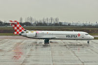 EI-EXI @ EGGW - Spanish airline , Volotea ,  use their B717 to bring in soccer supporters from Montpelier for their European Champions League fixture with Arsenal - by Terry Fletcher