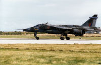 XZ377 @ EGQS - Jaguar GR.1A of 6 Squadron preparing for take-off on Runway 5 at RAF Lossiemouth in September 1993. - by Peter Nicholson