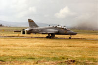 XX331 @ EGQS - Hawk T.1A of 100 Squadron at RAF Leeming waiting for clearance to join Runway 23 at RAF Lossiemouth in September 1993 on an Exercise Solid Stance mission . - by Peter Nicholson
