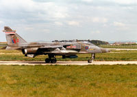 XZ103 @ EGQS - Jaguar GR.1A, callsign Boxer 3, of 41 Squadron at RAF Coltishall taxying to Runway 05 at RAF Lossiemouth in the Summer of 1997. - by Peter Nicholson