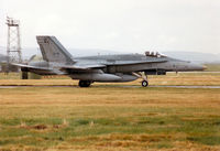 188730 @ EGQS - CF-188A Hornet of 433 Squadron Canadian Armed Forces preparing to depart on an Exercise Solid Stance mission from RAF Lossiemouth in September 1993. - by Peter Nicholson