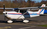 G-ARWS @ EGLK - Cessna 175 visiting Blackbushe on 9th February 2008 - by Michael J Duffield