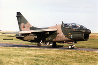 5548 @ EGQS - Portuguese Air Force TA-7P Corsair II of 304 Esquadron taxying to Runway 05 at RAF Lossiemouth in the Summer of 1993. - by Peter Nicholson