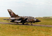 ZA475 @ EGQS - Tornado GR.1, callsign Jackal 3, of 12 Squadron taxying to Runway 05 at RAF Lossiemouth in the Summer of 1997. - by Peter Nicholson