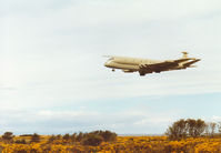 XV246 @ EGQS - Nimrod MR.2 of the Kinloss Maritime Wing on approach to Runway 23 at RAF Lossiemouth in the Summer of 1997. - by Peter Nicholson